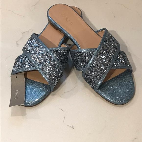 2704808edcf9e NWT JCrew Cora Glitter Sandal in Ocean Blue